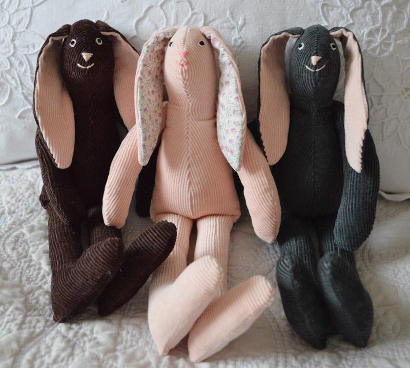 corduroy hand made bunnies