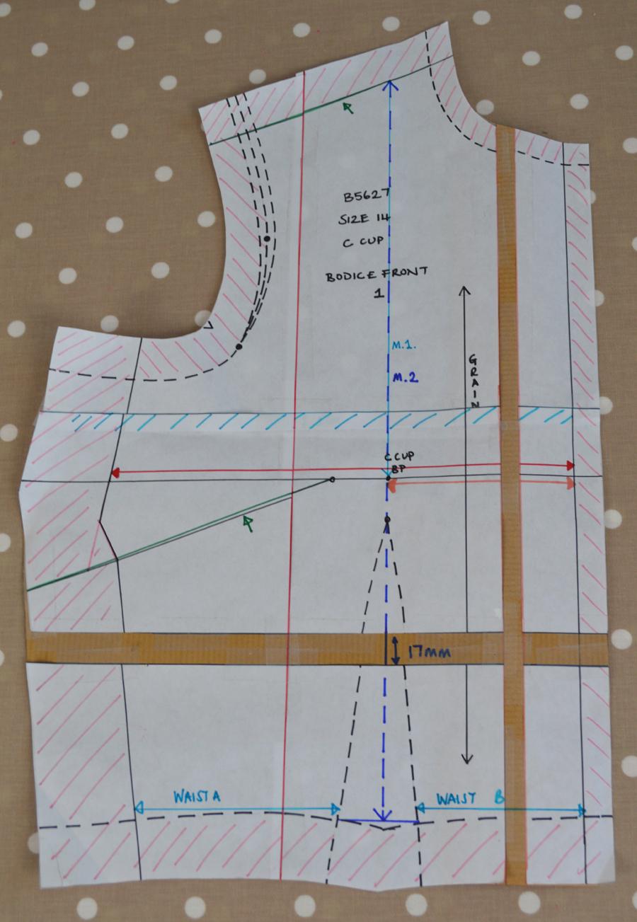 Waist measurement pattern front
